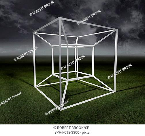 A tesseract is a 4-dimensional analogue of a cube, as a cube is a 3-dimensional analogue of a square. The model is a theoretical projection of a four...