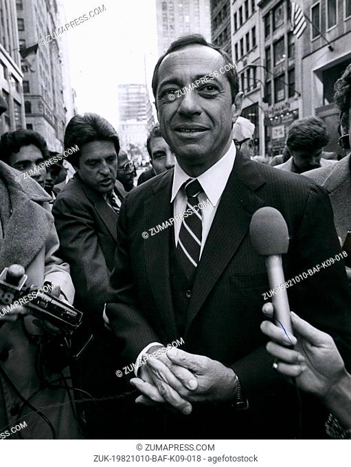 Oct. 10, 1982 - New York City: Italian Americans celebrated Columbus day in New York with a March up fifth Avenue with three weeks left till election day it...