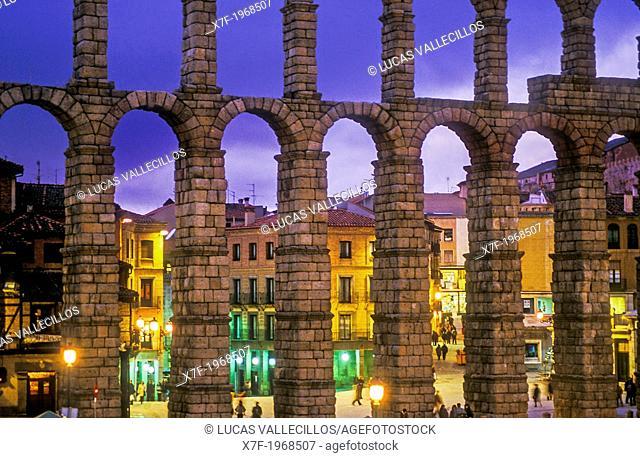 Roman aqueduct, Segovia, Castilla-Leon, Spain