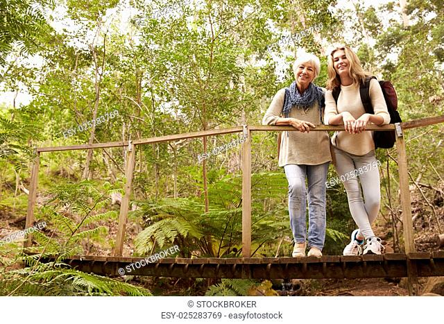 Grandmother and granddaughter on a bridge in a forest