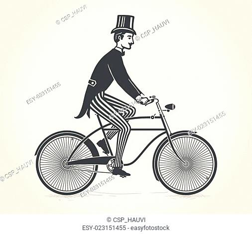 gentleman ride a vintage bicycle