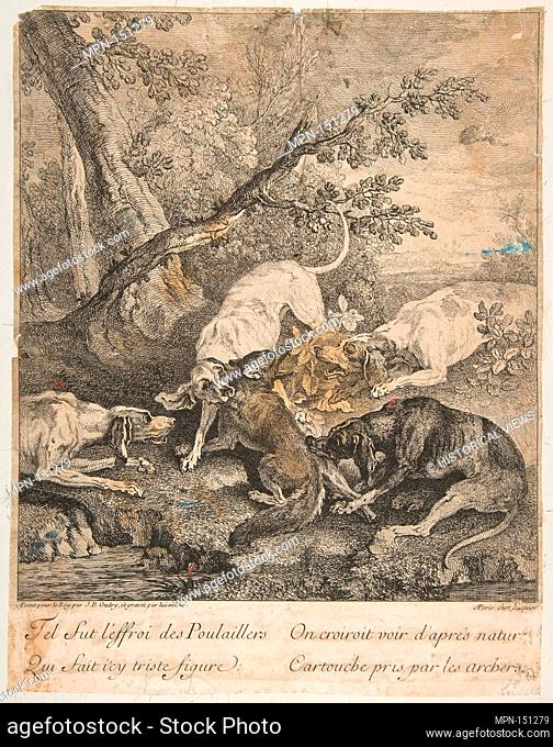 Fox Hunt. Artist: Jean-Baptiste Oudry (French, Paris 1686-1755 Beauvais); Date: 1736; Medium: Etching; Dimensions: image: 11 15/16 x 10 11/16 in. (30