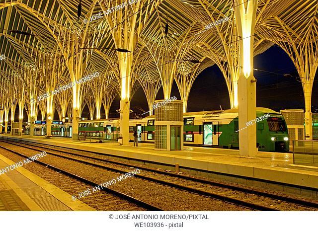 Gare do Oriente railway station by Santiago Calatrava at dusk, Parque das Nações, Lisbon, Portugal