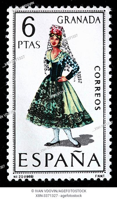 Granada, Andalusia, woman in traditional fashioned regional costume, postage stamp, Spain, 1968