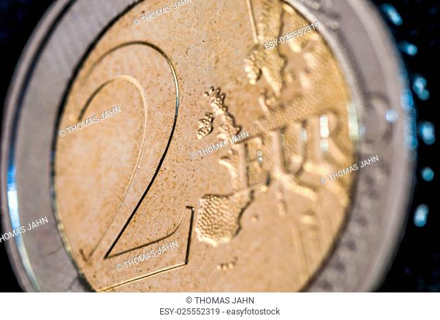 two Euro Coin closeup with europe frontside