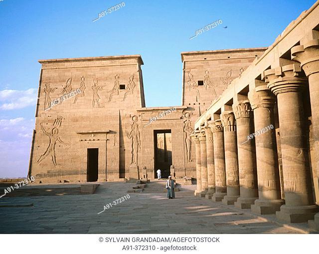Main yard. Philae Temple. Aswan. Egypt