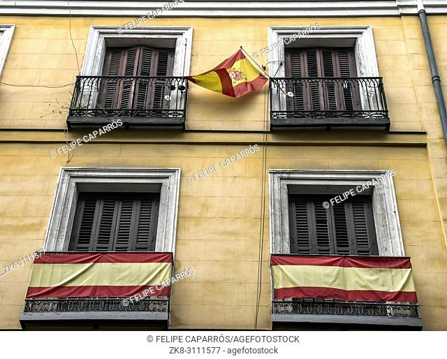 Typical building facade with flags in balconies in Madrid, Spain