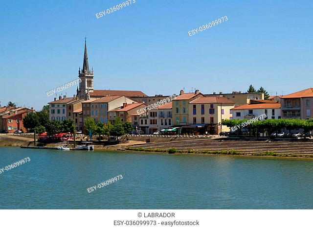 View of the city of Macon with Saone river in Burgundy, France
