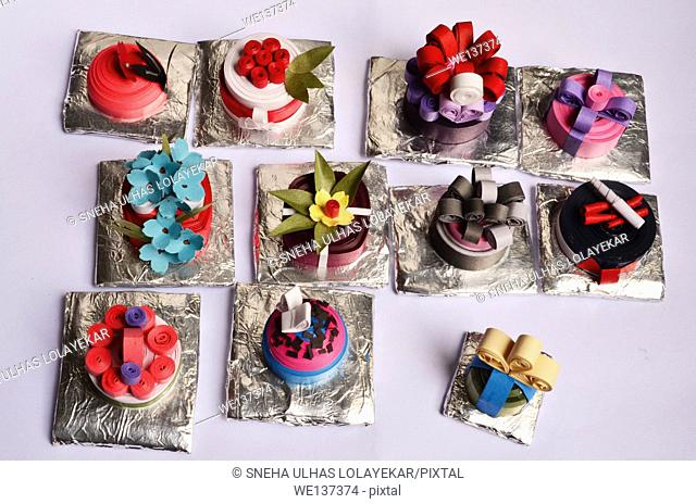 Hand made Quilling small cakes,poona,Mahrshtra, India
