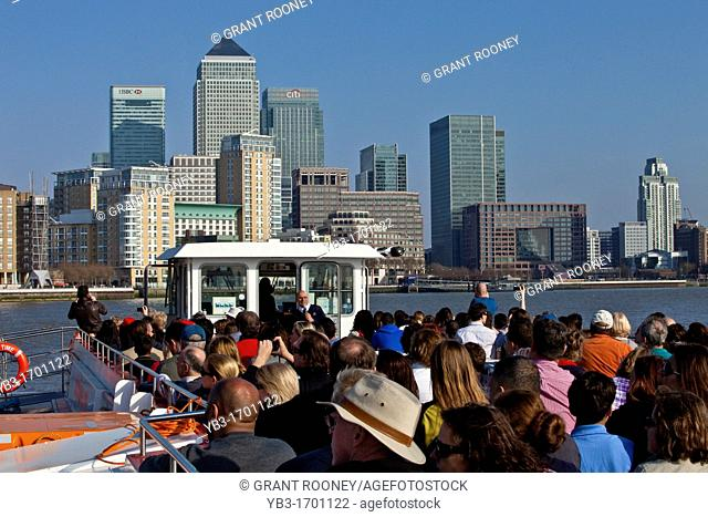 Tourists on a City Cruise Boat, River Thames, London, England