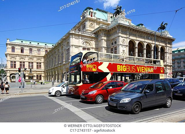 Austria, A-Vienna, Danube, Federal Capital, Vienna State Opera at the Opernring, Vienna Ring Road, traffic, motorcars, double-decker bus, guided city tour