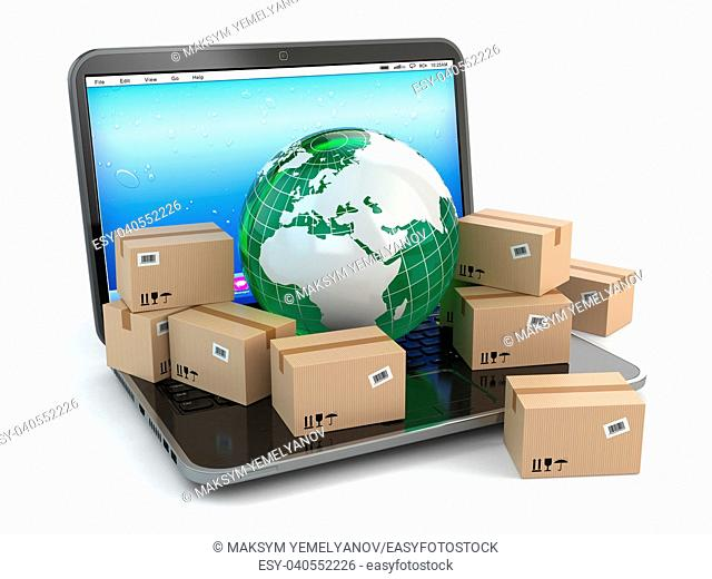 World wide delivering. Earth and boxes on laptop. 3d