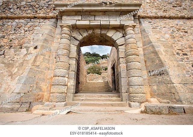 gate at Spinalonga fortress, Crete, Greece
