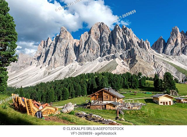 Funes Valley, Dolomites, South Tyrol, Italy. The mountain cinema near Refuge delle Odle/Geisleralm with the Odle Peaks