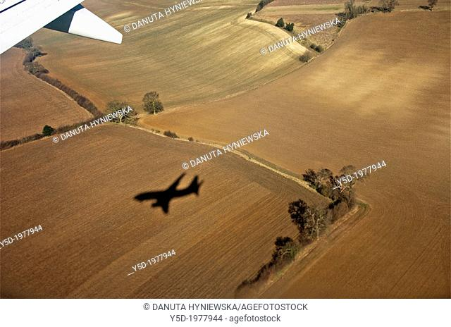 plane coming to landing at London Luton airport, Great Britain