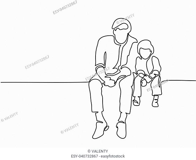 Continuous line drawing. Father and son sitting together. Vector illustration Total editable, choose thickness and place of line