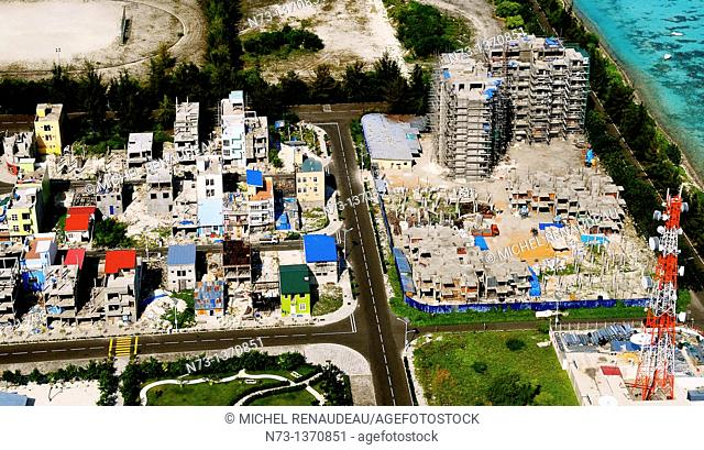 ndian Ocean, Maldives, Male 'city built and already cramped on an island