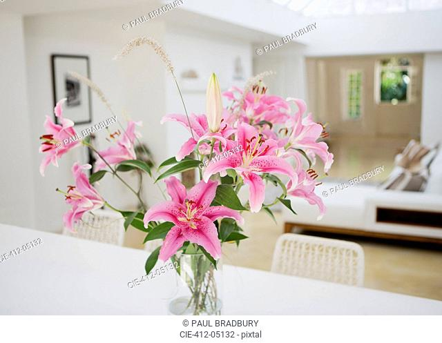 Bouquet of flowers on dining table