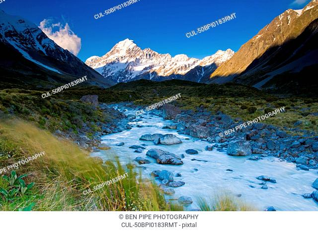 Snowy mountains and rural creek