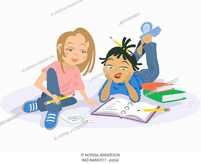 Two girls studying together