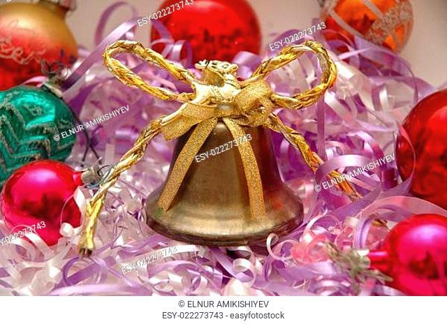 Various chrismas decorations and golden bell