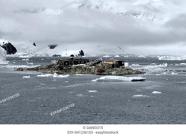 Chilean Antarctic Research base Gonzalez Videla. Situated on the Antarctic Peninsula at Paradise Bay