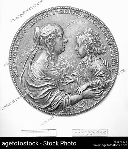 Anne of Austria, Queen Mother of France (1601-66) and her son Louis XIV (1638-1715). Artist: Medalist: Jean Varin (French