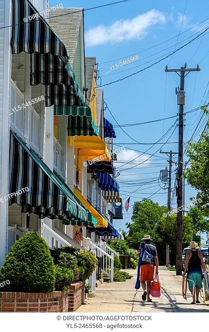 Ocean City, NJ, USA, Street Scenes, Private Wooden Houses Lined up with Awnings , Resort Town, People walking to Beach