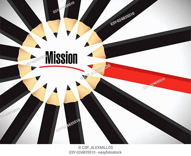 Mission word around a set of colors. illustration