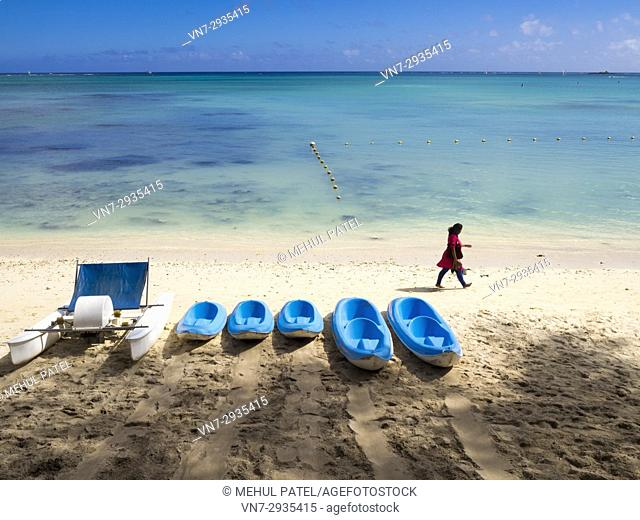Pedalo and canoes on Mont Choisy beach, Mauritius, Indian Ocean