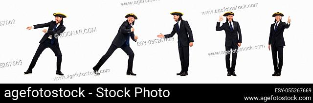 Young businessman pulling the rope isolated on white