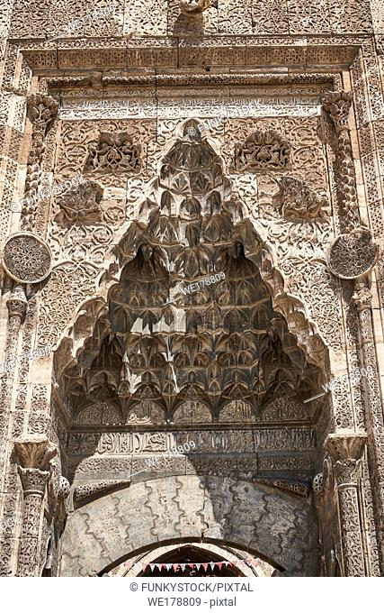 Close up of the Crown Gate of the Buruciye Medrese (Madrasah) built in 1271 by Dr. Muzaffer Burucerdî of Iran as a school teach physics, chemistry and astronomy