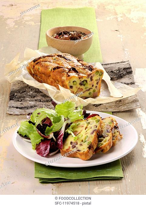 Vegetable cake with salad