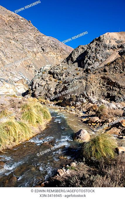 A river cuts through the Elqui Pisco Valley, Coquimbo, Chile
