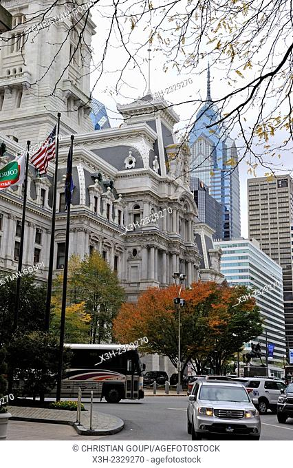 City Hall North side and One Liberty Place Skyscraper in the background, Philadelphia, Commonwealth of Pennsylvania, Northeastern United States,