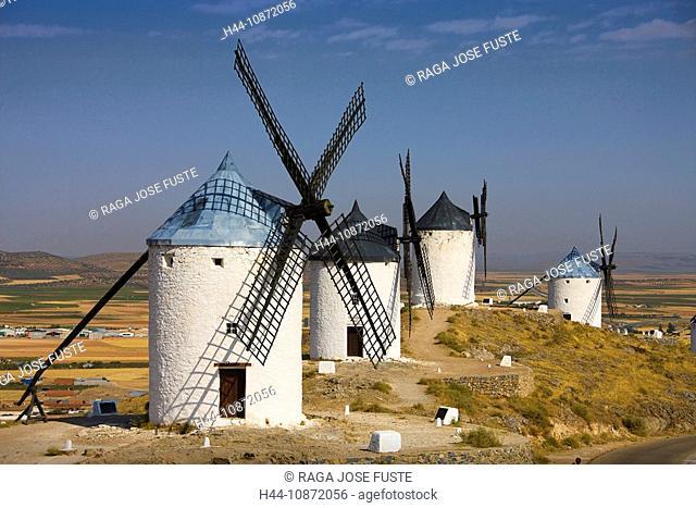 Spain, La Mancha, Consuegra, windmills, scenery, holidays, travel