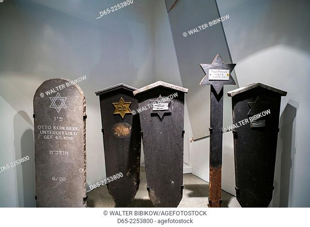 Germany, Berlin, Kreuzberg, Jewish Museum Berlin, Daniel Libeskind, architect, New Building, grave markers for German-Jewish soldiers who died during WW1