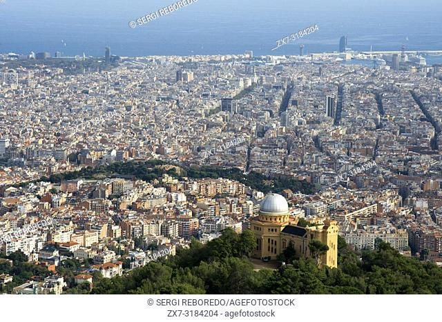 View and skyline of Barcelona from Mount Tibidabo