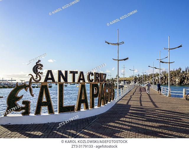 Santa Cruz Galapagos Letter Sign, Puerto Ayora, Santa Cruz or Indefatigable Island, Galapagos, Ecuador