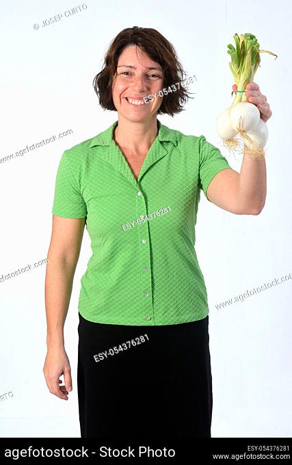 woman with lemon fruit in white background