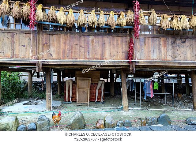 Zhaoxing, Guizhou, China, a Dong Minority Village. Back Side of a House and Shop. Rice and Chilis Drying, Mannequin Legs being Stored