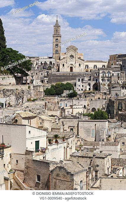 Matera, district of Matera, Sasso Barisano district with the Duomo, European Capital of Culture 2019, Basilicata, Italy, Europe