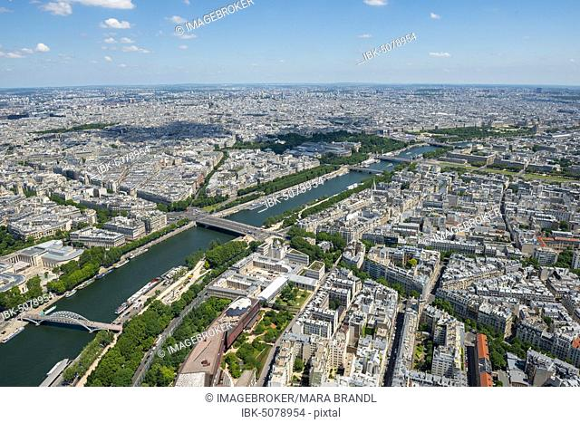 City view with the river Seine, view from the Eiffel Tower, Paris, France, Europe