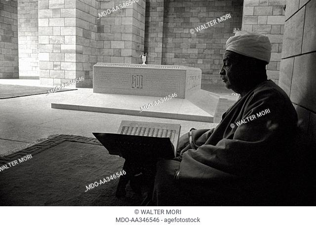 The Mausoleum of Aga Khan III in Assuan. An Ismaili priest is reading the suras of Corano in front of the sarcophagus of Sultan Aga Khan III (48th Imam of the...
