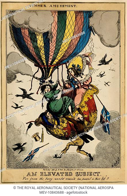 An Elevated Subject (1830) [Caricature depicting an accident to a balloon] [Cuthbert-Hodgson Collection]