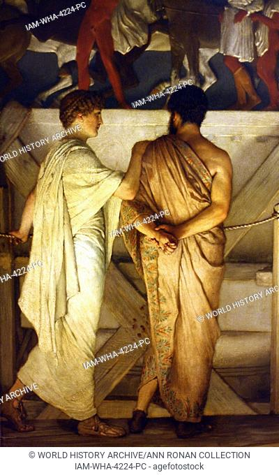 Detail from Pheidias and the Frieze of the Parthenon by Lawrence Alma-Tadema circa 1868. Oil on Wood. A painted scene imagining 430s BC in Athens