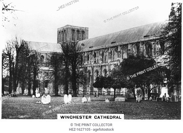Winchester Cathedral, Hampshire, 1937. Sights of Britain, third series of 48 cigarette cards, issued with Senior Service, Junior Member