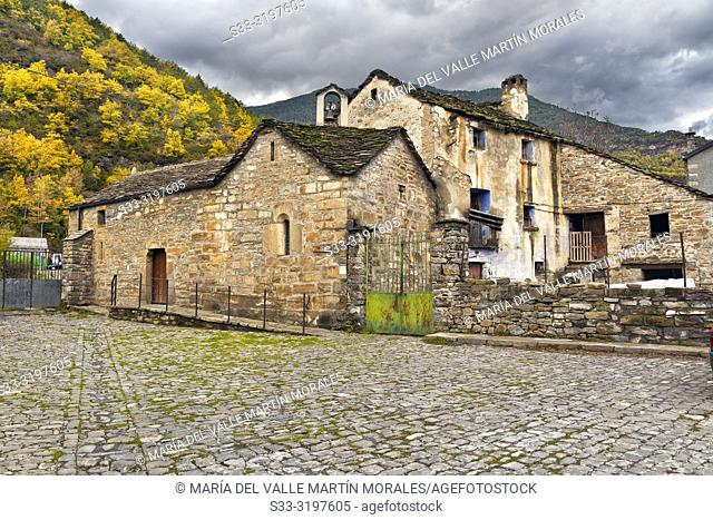 St. Clemente hermitage in Broto on a cloudy autumn day. Huesca. Aragon. Spain. Europe