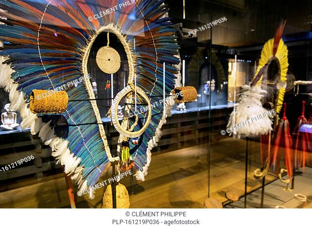 Kayapo headdress made of ara macaw feathers from the Amazon Rainforest at MAS / Museum aan de Stroom, Antwerp, Belgium