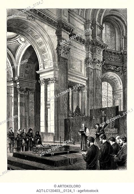 FUNERAL OF THE LATE SIR EDWIN LANDSEER IN ST. PAUL'S CATHEDRAL, LONDON, UK, 1873 engraving